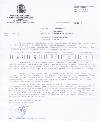 Certificación Trasejar